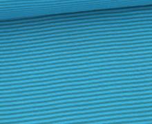 Glattes Bündchen - Streifen - Stripes - 2mm - Schlauchware - Türkis/Lichtgrün Dunkel