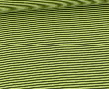 Glattes Bündchen - Streifen - Stripes - 2mm - Schlauchware - Gelbgrün/Grauoliv