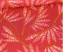 Viskose - Blusenstoff - Rosella Leaves - Penelope - Erdbeerrot