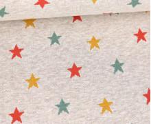 Weicher Jacquard - Baumwolle - Bunte Sterne - Warmweiß Melange