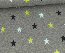 Weicher Jacquard - Baumwolle - Bunte Sterne - Grau Melange