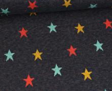 Weicher Jacquard - Baumwolle - Bunte Sterne - Stahlblau Melange