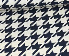 Weicher Jacquard - Baumwolle - Hahnentritt - Nachtblau