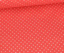 Beschichtete Baumwolle - Petit Dots - Poppy - Koralle/Weiß
