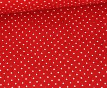 Beschichtete Baumwolle - Petit Dots - Poppy - Rot/Weiß