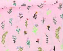 Baumwollstoff - Neon Streublumen - Babyrosa