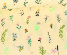 Baumwollstoff - Neon Streublumen - Pastellgelb