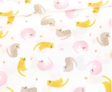 Baumwollstoff - Dreamy Cats - Poppy - Weiß