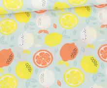 Baumwollstoff - Fresh Lemon - Poppy - Pastelltürkis Hell