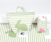DIY-NÄHSET - Utensilo Set - Körbchen - Colorful Bunnies - abby and me - Grün