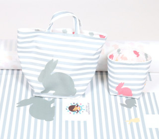 DIY-NÄHSET - Utensilo Set - Körbchen - Colorful Bunnies - abby and me - Blau