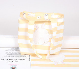 DIY-NÄHSET - Motivbeutel - Shopper - Adorable Bunnies - Ostern - abby and me - Gelb