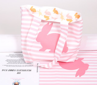 DIY-NÄHSET - Motivbeutel - Shopper - Colorful Bunnies - Ostern - abby and me - Rosa