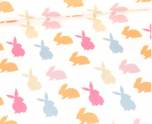 Sommersweat - Bio Qualität - Colorful Bunnies - Weiß - abby and me
