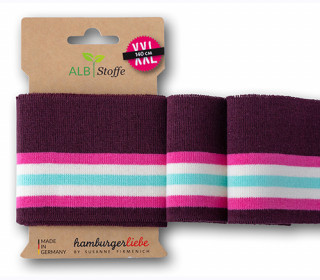 Bio-Bündchen - College - 5 Stripes - Sparkle - Glitzer - Multi - Cuff Me - Hamburger Liebe - Bordeaux