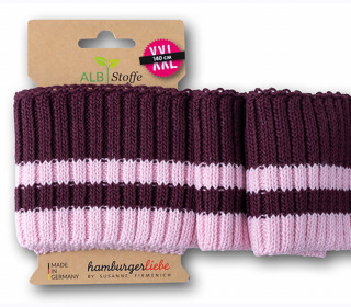 Bio-Bündchen - Cozy Stripes - 2 Stripes - Grobstrick - Sparkle - Multi - Cuff Me - Hamburger Liebe - Bordeaux