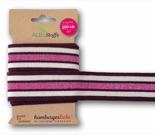 Streifenband - Stripe Me - College - 5 Stripes - Sparkle - Glitzer - Multi - Hamburger Liebe - Bordeaux