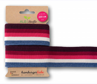 Streifenband - Stripe Me - College - 4 Stripes - Sparkle - Multi - Hamburger Liebe - Bordeaux