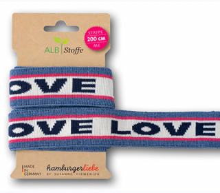 Streifenband - Stripe Me - Icon - Love - Sparkle - Multi - Hamburger Liebe - Jeansblau