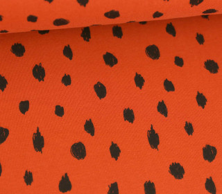 Sommersweat - French Terry - Painted Dots - Poppy - Rostorange