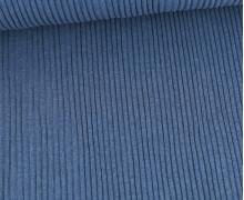 Hipster Bündchen - Rippen - Uni - Schlauchware - Jeansblau Melange
