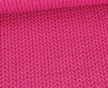 Bio-Elastic Minijacquard Jersey - 3D - Big Knit - Sparkle - Glitzer - Hamburger Liebe - Pink/Silber