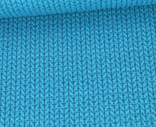Bio-Elastic Minijacquard Jersey - 3D - Big Knit - Sparkle - Glitzer - Hamburger Liebe - Türkis/Silber