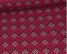 Bio-Jacquard - 4Farb Spezial Jacquard Jersey - Tiles - Sparkle - Glitzer - Beere/Bordeaux - Hamburger Liebe
