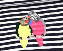Jersey - Paneel - Streifen - Pailetten - Vögel - Schwarzblau/Weiß