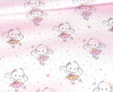Sommersweat - Bio Qualität - Sweet Bunnies - Kombistoff - Bunnies - Weiß - abby and me