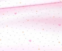 Sommersweat - Bio Qualität - Sweet Bunnies - Kombistoff - Hearts - Weiß - abby and me