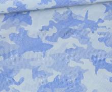Leichter Regenjacken Stoff - Regencape - Reflektor - Camouflage - Hai - Blau