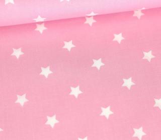 Baumwollstoff - Poplin - Weiße Sterne - White Stars - Babyrosa