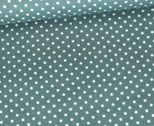 Baumwolle - Webware - Poplin - Weiße Mini Punkte - White Mini Dots - Lichtgrün Dunkel