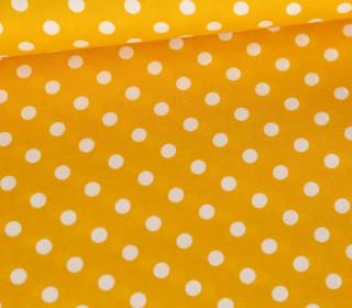Baumwollstoff - Poplin - Weiße Punkte - White Dots - Maisgelb