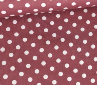 Baumwollstoff - Poplin - Weiße Punkte - White Dots - Weinrot