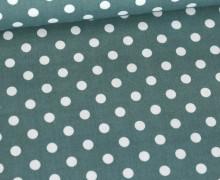 Baumwolle - Webware - Poplin - Weiße Punkte - White Dots - Lichtgrün Dunkel