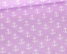 Baumwollstoff - Poplin - Weiße Anker - White Anchors - Lavendel Pastell
