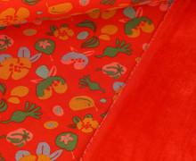 Alpenfleece - Kuschelstoff - Im Garten - Orangerot