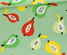 Baumwoll-Twill - Bedruckt - Birnen - Pastellgrün