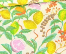 Baumwoll-Twill – Bedruckt – Zitronen – Warmweiß