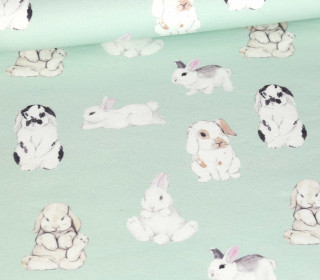 Sommersweat - Bio Qualität - Adorable Bunnies - Mint - abby and me