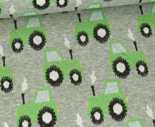 Jacquard Mischgewebe-Stoff - Traktoren - Hellgrau