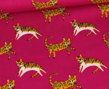 Baumwollstoff - Poplin - Raubkatzen - Pink