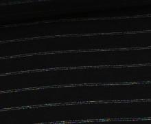 Glattes Bündchen - Glitter Rainbow Stripes - Glitzer - Schlauchware -  Schwarz