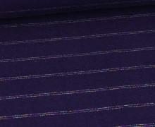 Glattes Bündchen - Glitter Rainbow Stripes - Glitzer - Schlauchware -  Lila Dunkel