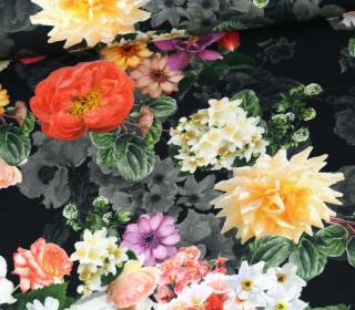 Panama Baumwolle - We Love Flowers - Schwarz