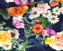 Panama Baumwolle - We Love Flowers - Stahlblau