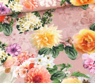 Panama Baumwolle - We Love Flowers - Altrosé