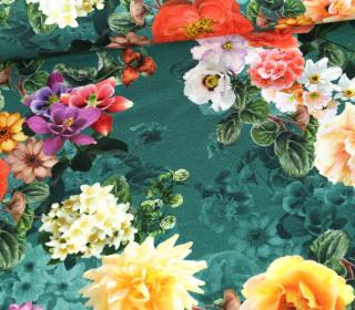 Panama Baumwolle - We Love Flowers - Petrol